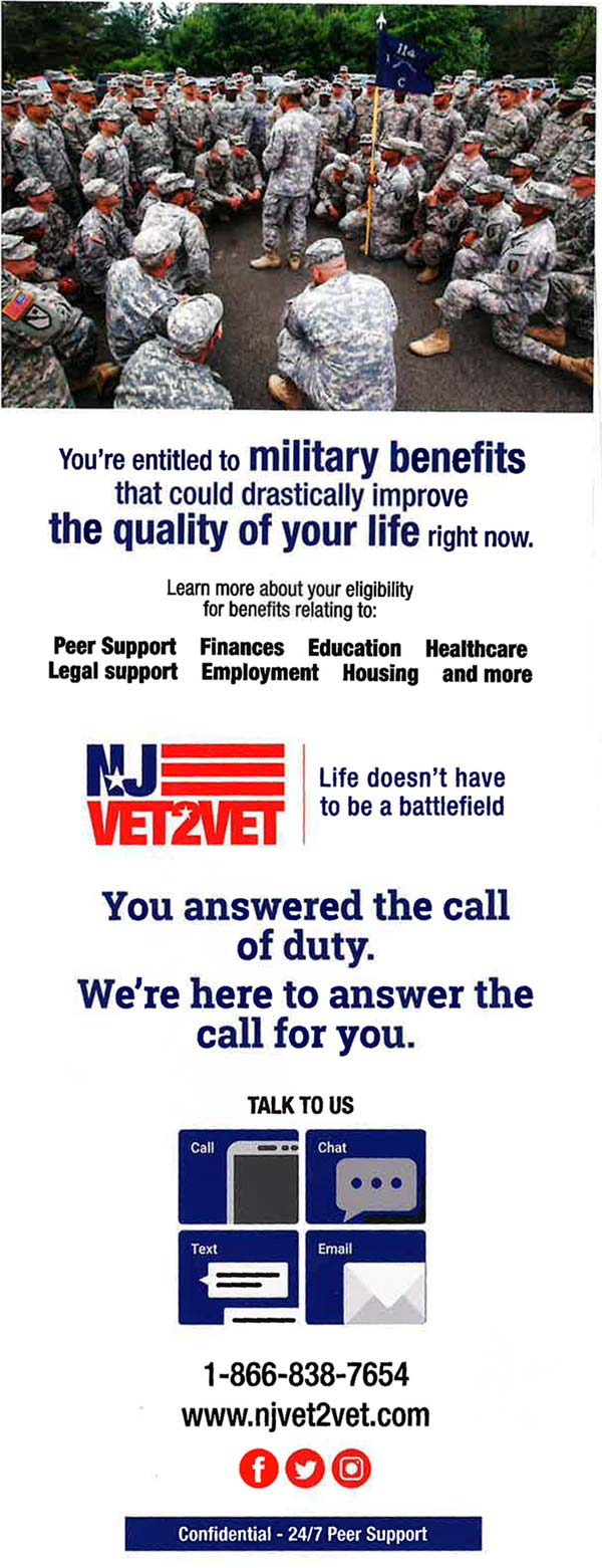 New Jersey Vet to Vet hotline
